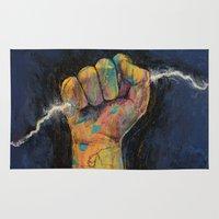 lightning Area & Throw Rugs featuring Lightning by Michael Creese