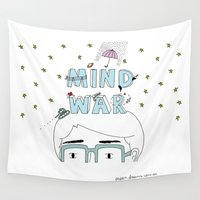 war Wall Tapestries featuring Mind War by Paper Dreams