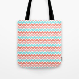 Coral Peach Pink and Aqua Turquoise Blue Chevron Tote Bag