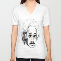 chibi V-neck T-shirts featuring Chibi Einstein by Hazel Bellhop