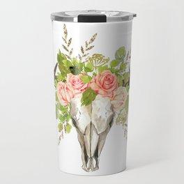 Bohemian bull skull and antlers with flowers Travel Mug