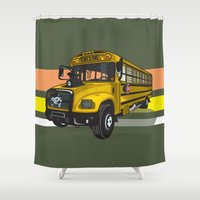 school Shower Curtains featuring School bus by mangulica