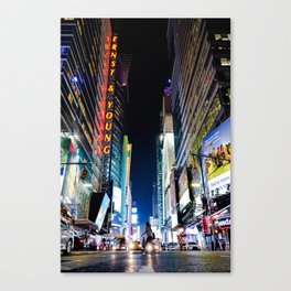 Crossing The Street in Times Square Canvas Print