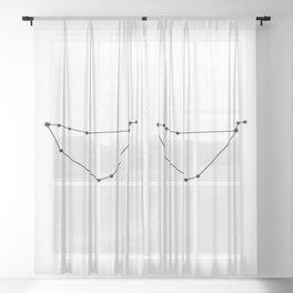Capricorn Star Sign Black & White Sheer Curtain