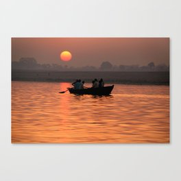 Rowing Boat on the Ganges at Sunrise Canvas Print