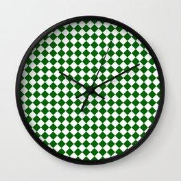 Small Diamonds - White and Dark Green Wall Clock