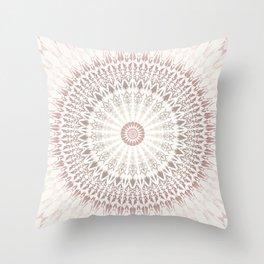 Cream Rose Mandala Throw Pillow