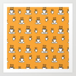 Coffe mug pattern in mustard yellow Art Print