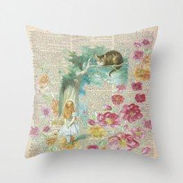 Vintage Floral Alice In Wonderland Throw Pillow