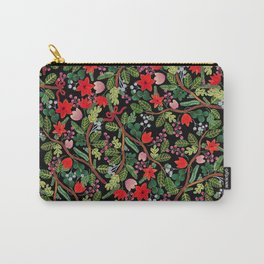 Christmas Floral Black Carry-All Pouch