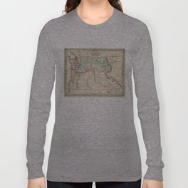 Vintage Map of Washington and Oregon (1856) Long Sleeve T-shirt