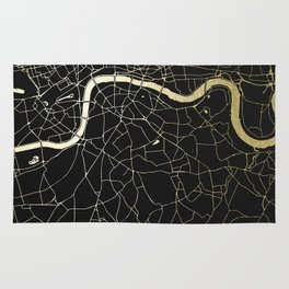 London Black on Gold Street Map Rug