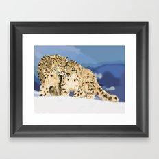Snow leopards Framed Art Print