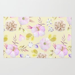 Modern hand painted pink lavender yellow watercolor floral Rug