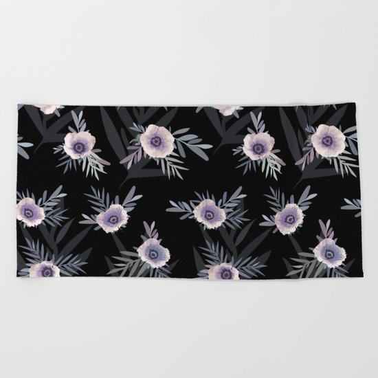 Floral pattern with anemone flowers, romantic print black background Beach Towel