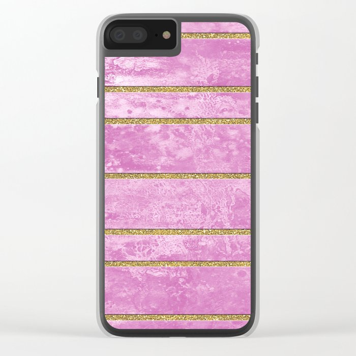 Abstract Painting with Golden Stripes - Pink Clear iPhone Case