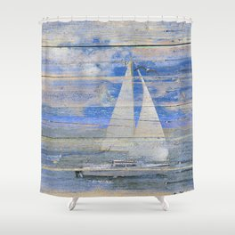 Sailboat Sailing Beach House Lake House Print Coastal Art A462 Shower Curtain