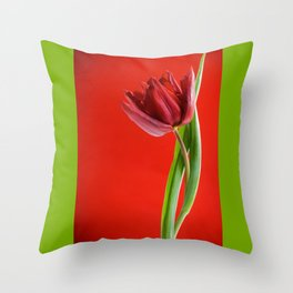 Single red tulip with green leaves Throw Pillow