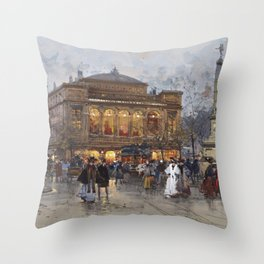 Theater du Chatelet, Paris Opera House, France portrait painting by Eugene Galian Laloue Throw Pillow
