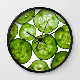 Fresh Yummy Cucumbers Wall Clock