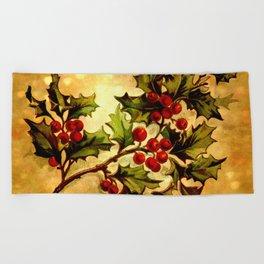 Christmas Holly, Vintage Botanical Illustration Collage Beach Towel