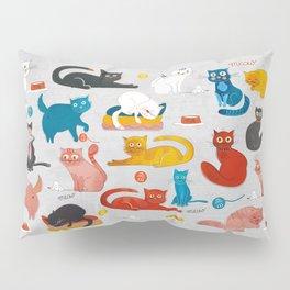 Playful Cats - illustration Pillow Sham