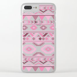 Modern Tribal Aztec – Mulberry Pink and Plum Violet Clear iPhone Case