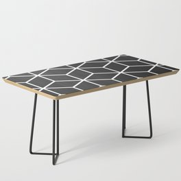 Charcoal and White - Geometric Textured Cube Design Coffee Table