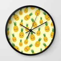 pineapples Wall Clocks featuring Pineapples by Sara Showalter