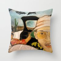 fear and loathing Throw Pillows featuring Fear & Loathing by Lindsey Pudlewski