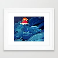 ponyo Framed Art Prints featuring Ponyo by The Art of Sandy Lau