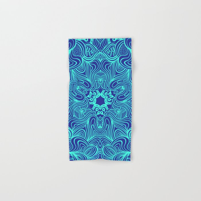 Blue on Blue, abstract pattern Hand & Bath Towel