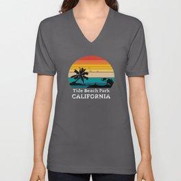 Tide Beach Park CALIFORNIA Unisex V-Neck