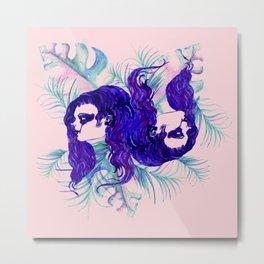 Stylized Gemini zodiac Metal Print