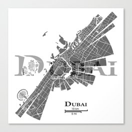 Dubai Map Canvas Print