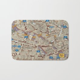 Illustrated map of Berlin-Mitte. Sepia Bath Mat