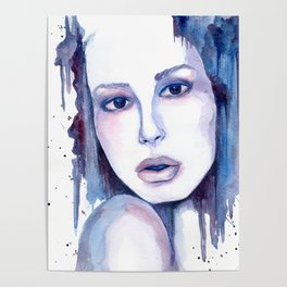 Watercolor - Woman in blue Poster