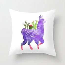 No Prob-Llama - Purple Llama and Cacti Throw Pillow