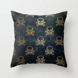 Golden Skull & Crossbones Throw Pillow