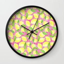 Pink Lemonade Pattern Wall Clock