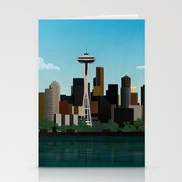 seattle Stationery Cards featuring Seattle by WyattDesign