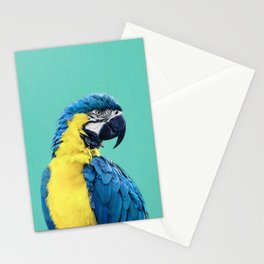 Macaw Parrot in Blue Stationery Cards