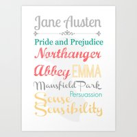 jane austen Art Prints featuring Jane Austen Novels Illustration by A Novel Gift