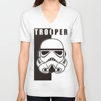 trooper V-neck T-shirts featuring Storm Trooper by SpaceCatsBonanzaParty