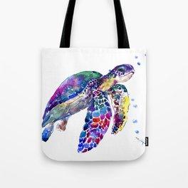 Sea Turtle Rainbow Colors, turtle design illustration artwork animals Tote Bag