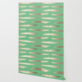 Abstract Paint Stripes Gold Tropical Green Wallpaper