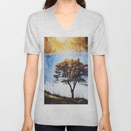 """Original Painting """"Foggy Sunrise"""" Unisex V-Neck"""