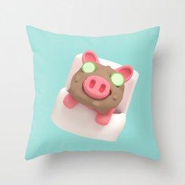 Rosa the Pig does mudbath Throw Pillow