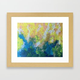 Blue Yellow Criss Cross Framed Art Print