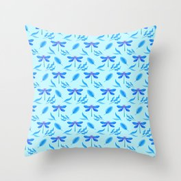 Pretty beautiful dragonflies, little leaves elegant stylish light baby blue nature summer pattern Throw Pillow